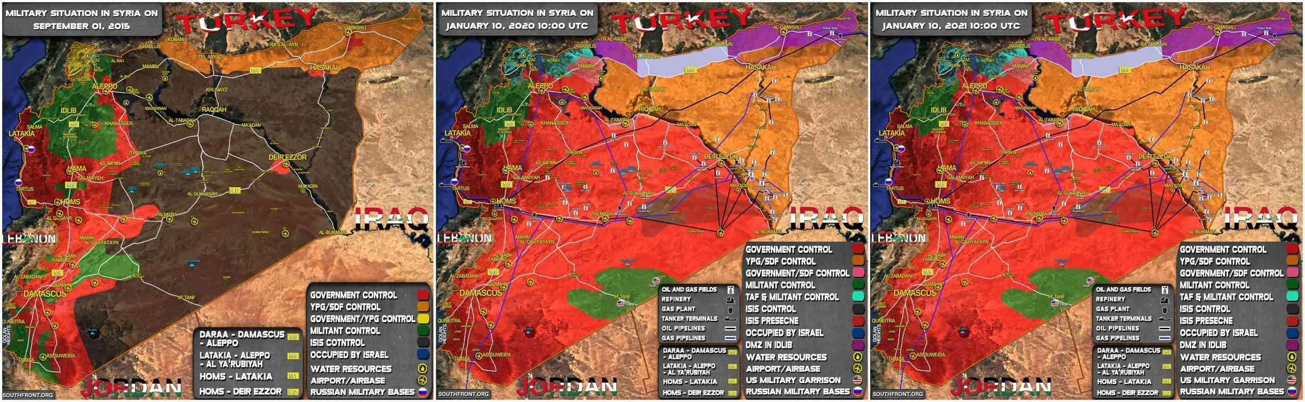 Mapa actualizado de la situación militar general en Siria durante el 11 de enero (+ Mapas en torno a cambios desde el 2015)
