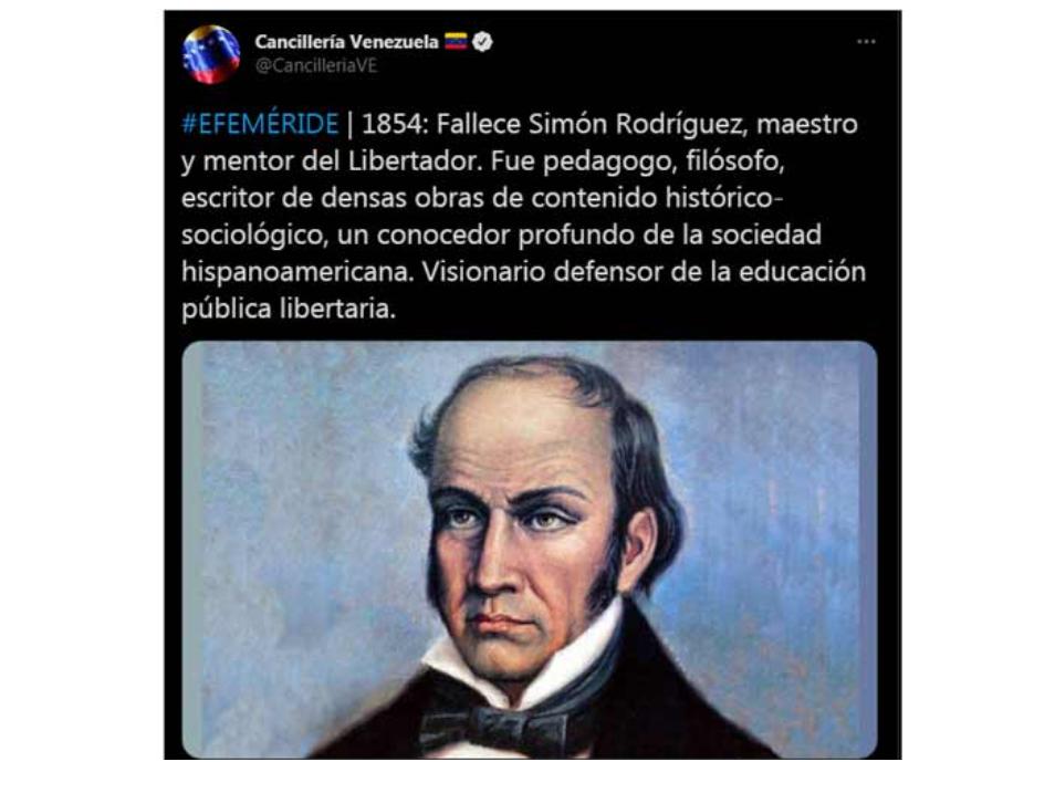 Presidente Maduro de Venezuela enaltece el legado del educador Simón Rodríguez