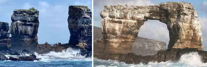 La famosa roca del Arco de Darwin se derrumbó en las Islas Galápagos